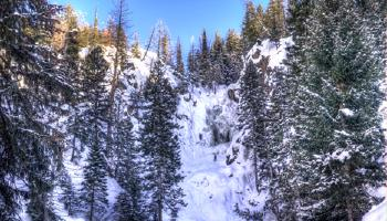 Fish creek falls after fresh snow.